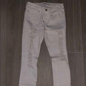 "Frame ""Le Skinny de Jeanne"" Distressed Jeans"
